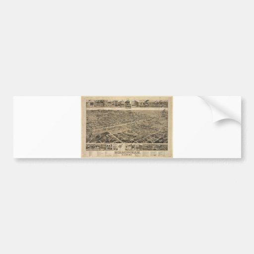 Bird's Eye View of Birmingham Alabama in 1885 Bumper Sticker