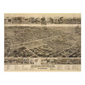 Bird's Eye View of Birmingham Alabama in 1885 Postcard