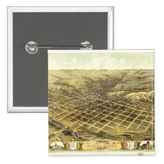 Bird's eye view of Council Bluffs Iowa (1868) 15 Cm Square Badge