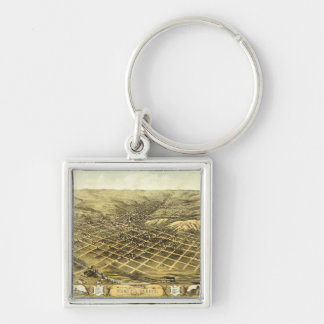 Bird's eye view of Council Bluffs Iowa (1868) Silver-Colored Square Key Ring