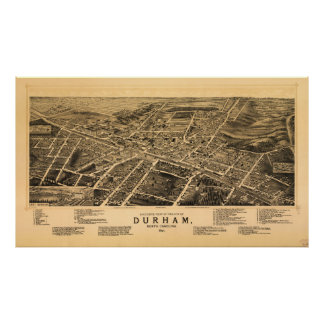 Bird's-eye view of Durham, North Carolina (1891) Poster