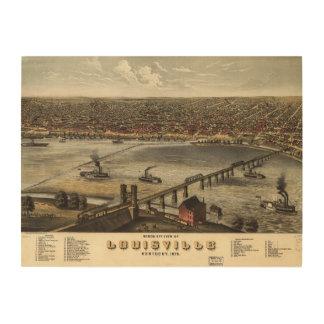Bird's eye view of Louisville, Kentucky (1876) Wood Canvas