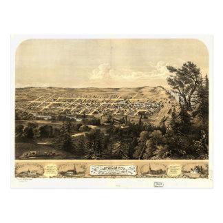 Bird's Eye View of Michigan City, Indiana (1869) Postcard