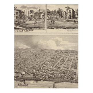 Bird's eye view of Muscatine City residences Postcard