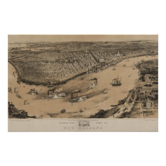 Birds' eye view of New Orleans from 1851 Custom Stationery