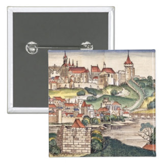 Bird's Eye View of Prague from the Nuremberg Chron 15 Cm Square Badge