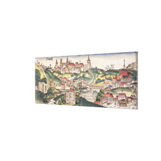 Bird's Eye View of Prague from the Nuremberg Chron Canvas Print