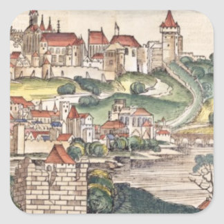 Bird's Eye View of Prague from the Nuremberg Chron Square Sticker