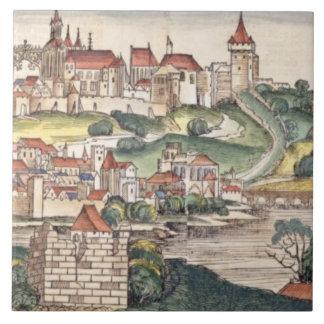 Bird's Eye View of Prague from the Nuremberg Chron Tile