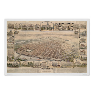 Bird's eye view of Sacramento, Calif. (1293) Poster