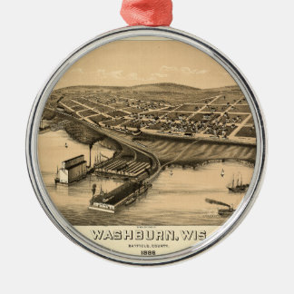 Birds eye view of Washburn, Wisconsin (1886) Christmas Ornament