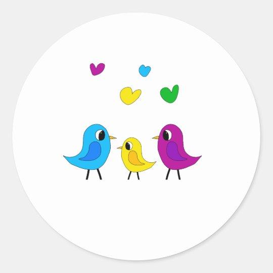 Birds family classic round sticker