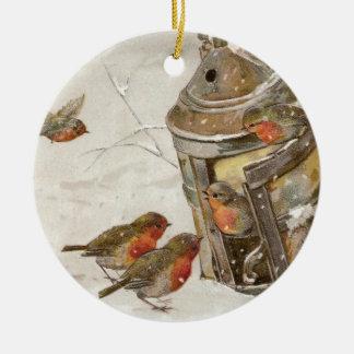 Birds Find Shelter in Lantern Vintage Christmas Christmas Ornament