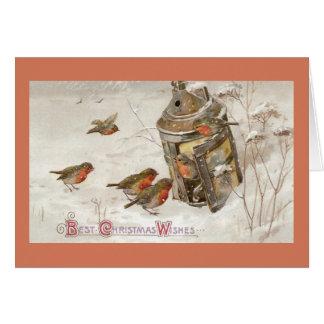 Birds Find Shelter in Lantern Vintage Christmas Greeting Card