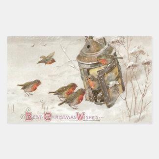 Birds Find Shelter in Lantern Vintage Christmas Rectangular Sticker