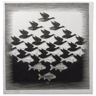 birds fish printed napkin