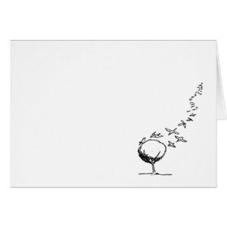 Birds flocking to a tree greeting card