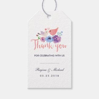 Birds Floral Wedding Favor Thank You Gift Tag