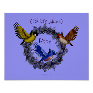 Birds Flowers Kids Room Personalized Wall Poster
