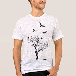 Birds Fly From The Tree vintage style mens tshirt