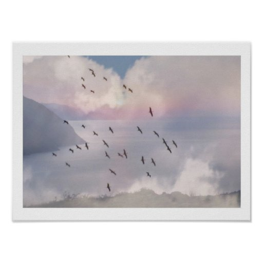 BIRDS FLY IN GROUP PRINT