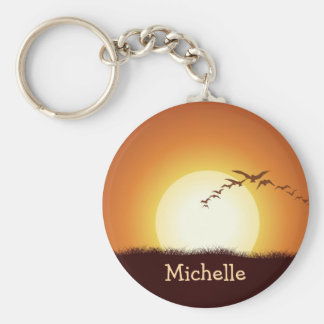 Birds Flying at Sunset Personalized Keychain