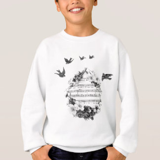 Birds Flying French Sheet Music Flowers Wreath Bir Sweatshirt