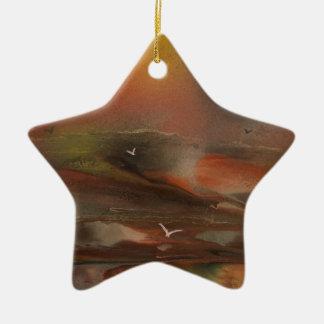 Birds flying over an alien ocean ceramic star decoration
