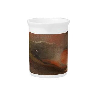 Birds flying over an alien ocean pitcher