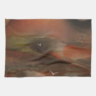 Birds flying over an alien ocean tea towel