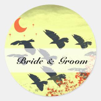 Birds Flying Red Moon Round Sticker