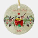 Birds Garland & Pinecones Christmas Photo Ornament