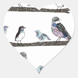 Birds. Heart Sticker