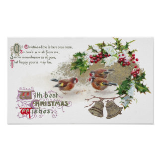 Birds Holly and Bells Vintage Christmas Print