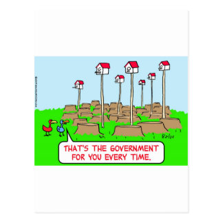 birds houses trees stumps government postcard