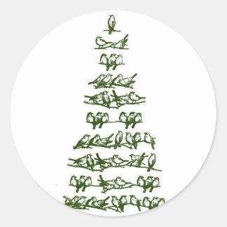 Birds in a tree round sticker