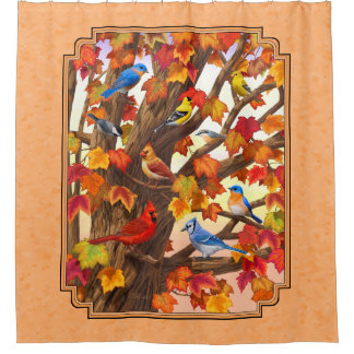 Birds in Autumn Maple Tree Peach Shower Curtain