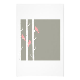 Birds In Birch Trees Grey Customized Stationery