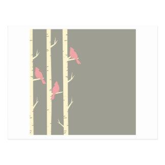 Birds In Birch Trees Grey Postcard