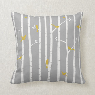 Birds in Birch Trees Grey White Yellow Cushion