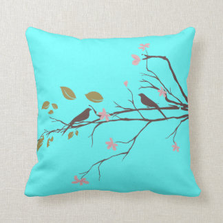 birds in cherry blossom throw pillow