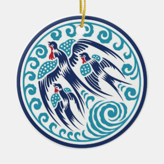 Birds in Flight Double-Sided Ceramic Round Christmas Ornament