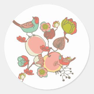 Birds in Fruit Tree Round Stickers