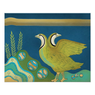 Birds in its nest of Crete Poster