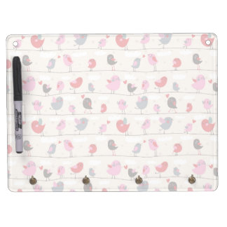 Birds in Love Dry Erase Board With Key Ring Holder