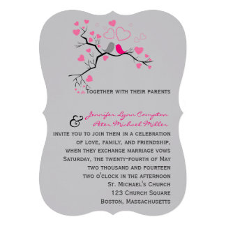 Birds in love wedding invitation
