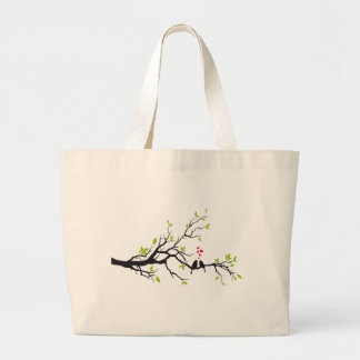 Birds in love with red hearts on spring tree jumbo tote bag