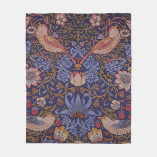 Birds in The Flower and Strawberry Garden Design Fleece Blanket