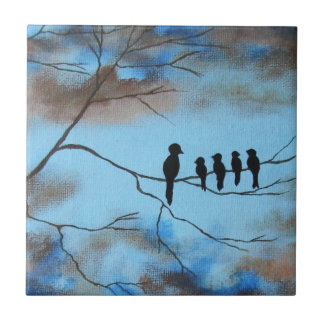 Birds In Tree In Sky Mother's Day Abstract Art Small Square Tile