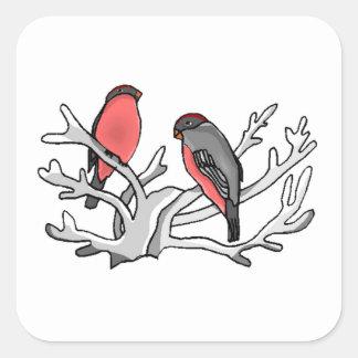 Birds In Tree Square Stickers